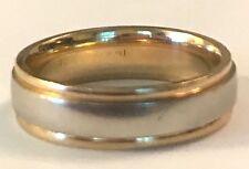 ❤️Plain Two-Tone ~ 14K Yellow & White Gold Designer Wedding Band Ring ~ Sz 5.5❤️