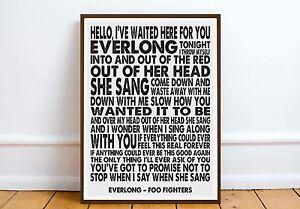 Foo Fighters Everlong lyric quote art print art print - wall art poster print