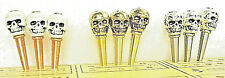 9 Skull-Top Cribbage Pegs  3 Ea. Silver, Gold & Bone White. Black Velvet Pouch a