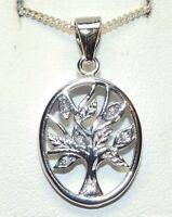 """SILVER TREE OF LIFE PENDANT DIAMOND 925  STERLING 18"""" Silver Chain OVAL DESIGN"""