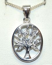 "SILVER TREE OF LIFE PENDANT DIAMOND 925  STERLING 18"" Silver Chain OVAL DESIGN"