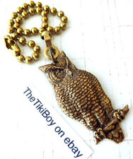 Hoot Owl Ceiling Fan Pull Chain Antiqued Brass Metal Ball Chain Light Pull New