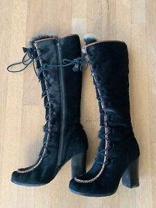 Frye x Anna Sui Collab Calf Hair Runway Boots- Black