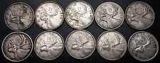 Lot of 10 Canada 80% Silver 25 Cents Quarters 1941 1943 1944 1945 1951 1959-1965