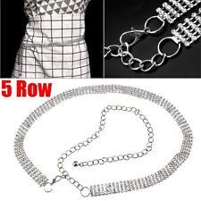 5 Row Diamante Diamond Ladies Waist Chain Crystal Rhinestone Charm Long Belt AU