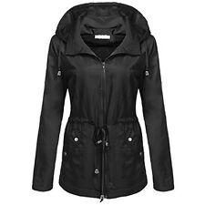 UK Womens Winter Raincoats Hooded Waterproof Windproof Outdoor Coat Jacket size