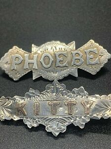 2 SILVER NAME BROOCH PHOEBE AND KITTY ANTIQUE PIN BADGE 583