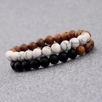 2Pcs Women Man Bracelets 8mm Wood Lava Beads Energy Yoga Reiki Couples Bracelets