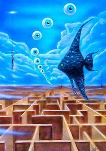 Labyrinth Airbrush Acryl Bild Kunst Malerei JAMOJU ART