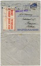 SOUTH AFRICA WW2 CENSORED KLM AIR by SURFACE MAIL RESEAL LABEL on MAP 1940