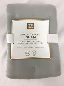 NEW - Pottery Barn Teen, Amelia Tencel Sham Standard Grey Mist