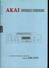 Rare Original Factory Akai AM U03 Stereo Amplifier Amp Service Manual