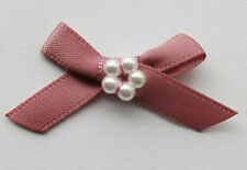 10 RIBBON BOWS WITH BEADS  ( Cerise ).