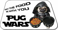 PUG WARS May the food be with you Cute Pug Pet Mat Dog Feeding Rubber Backed