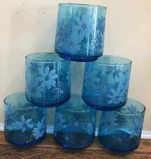 6 Aqua Blue Vintage Juice Highball Glasses Retro 1960s Mid Century Estate Find