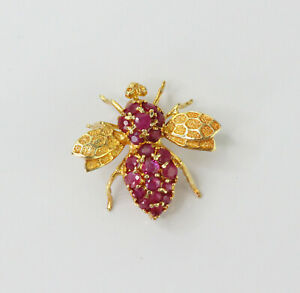 Stunning 14k Yellow Gold 1 ct Natural Ruby Bee Fly Bug Pin Brooch Pendant
