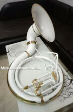 """SOUSAPHONE IN WHITE 25""""BELL OF PURE BRASS METAL + CASE BOX +FREE SHIPPING"""