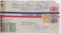 colombia to u.s.  1944  censor  air mail stamps cover ref r15479