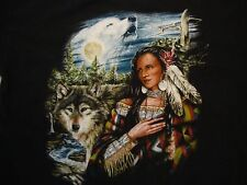 Native American Indian Tribe Wolves Black Cotton T Shirt Size XL