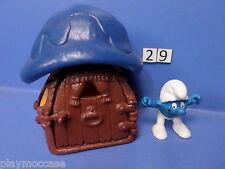 (29) Schtroumpf maison orange toit bleu 78+ personnage 80 peyo schleich germany