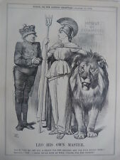 "7x10"" PUNCH cartoon 1878 LEO HIS OWN MASTER siraeli / brittannia lion"