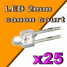 100pcs 318//100# LED jaune 2mm canon court -