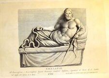 By Zanetti Greek Statues  ESCULAPIO (AESCULAPIUS) Antique Copper Engraving  1743