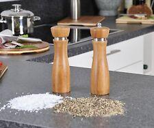 2er SET Pfeffermühle & Salzstreuer aus Bambus, Mühle für Pfeffer, Salz, Gewürze