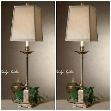 TWO MODERN BRONZE CANDLESTICK AGED BRONZE TABLE LAMPS SQUARE SHADE LIGHTS
