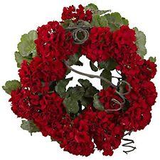 Nearly Natural 4986 Geranium Wreath- 17-Inch