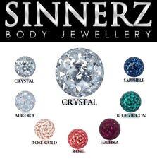 16g 1 Piece Threaded Crystal Epoxy Resin Ball Tragus Rook Daith Helix SINNERZ