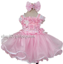 Infant/toddler/baby Pink Lace Floral Crystals Pageant Dress 2T G315