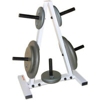 Weight Rack Plate Tree Barbell 1 Inch Training Weights Home Gym Equipment White