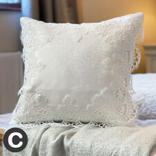 """TWO PACK Luxury White Crochet Lace 16"""" Cushion Covers Antique Style Damask"""