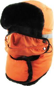 Reflective Safety Aviator Trapper Hat Winter Cap Ski Warm Fur Mask Neck Warmer