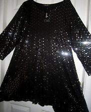 NOUVELLE COLLECTION - BLACK-TUNIC - Sz 22/24 -(MORE LIKE A 20) SILVER SPOTS BNWT