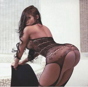 Slutty Lingerie Bodystocking Fishnet Thigh-High Garter Hot Sexy Porn Star Outfit