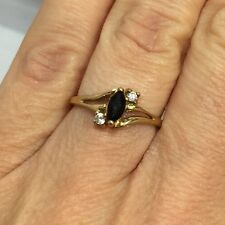 WoW Vintage 10k Yellow Gold Black Sapphire Marquise Pave Wedding Cocktail Ring 7