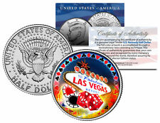Welcome to LAS VEGAS Sign JFK Half Dollar * LUCKY COIN * Casino Poker Card Guard