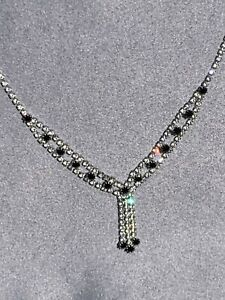 Beautiful Black and Diamond Rhinestone Necklace