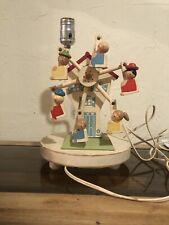 Vtg Ferris Wheel Nursery Wind Up Music Box Lamp- Plays Lullabies Works