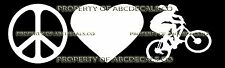 PEACE LOVE CYCLING MOUNTAIN BIKE Girl Vinyl Wall Sticker Car Bumper Window Decal