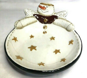 Sonoma Life Styles Country Angel  snowman and stars Candy dish,Trinket Dish