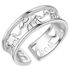 925 STERLING SILVER PLATED CHARMING LINKED ELEPHANTS RING THUMB FINGER RING