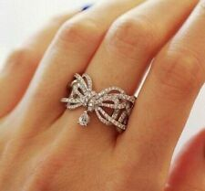 Butterfly Designed Pretty Engagement Fine Ring 9 Ct 925 Sterling Silver White Cz
