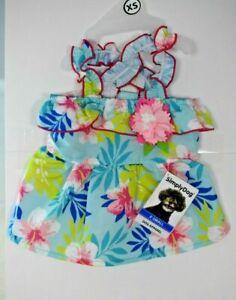 SimplyDog Blue Hawaiian Floral Print Flower Dress Pet/Dog Extra Small