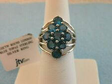 LONDON BLUE TOPAZ RING 925 Sterling Silver w Rhodium Overlay Size 7  4.52 Cts.