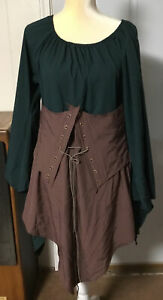 Adult Fairy Dress Renaissance Costume Trumpet Sleeves Medieval Small Green/Brown