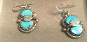 Vintage ~ Effie C.Zuni  Sterling & Turquoise EARRINGS