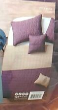 VCNY Hayden Geometric Embroidered Reversible King 5 Pc Quilt Set Plum/Taupe